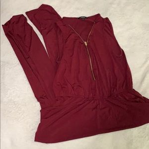 Sleeveless Maroon Jumpsuit